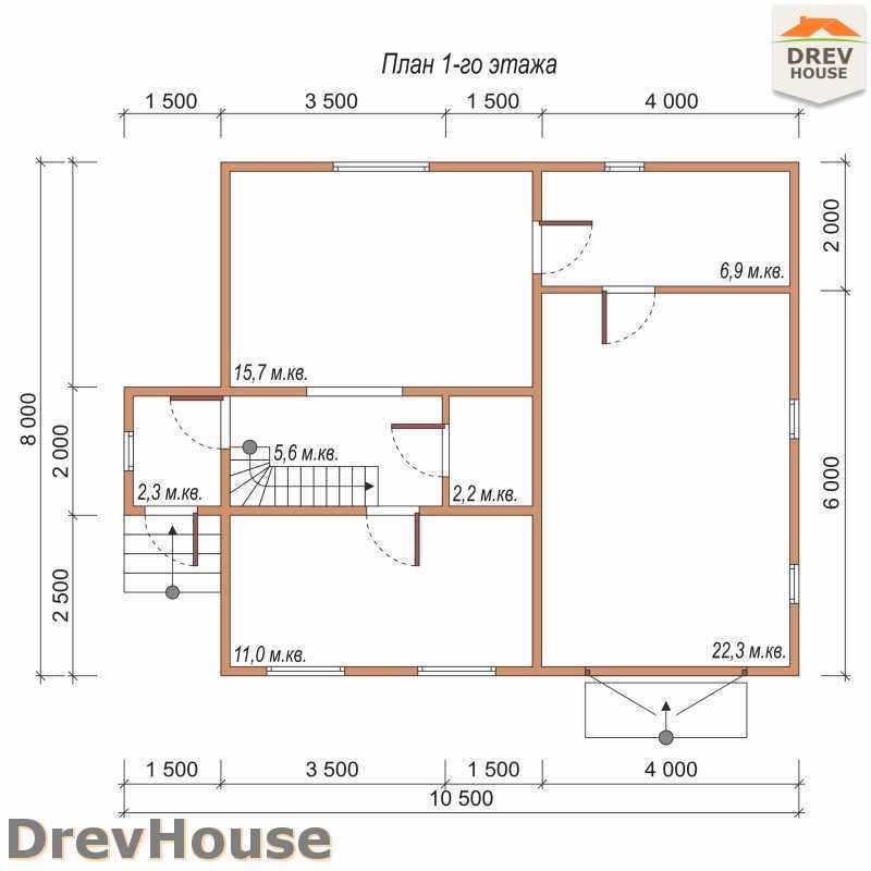 План 1 этажа дома из бруса с мансардой ДБ-44