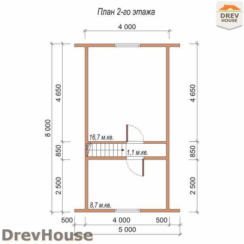 План 2 этажа дома из бруса с мансардой ДБ-44