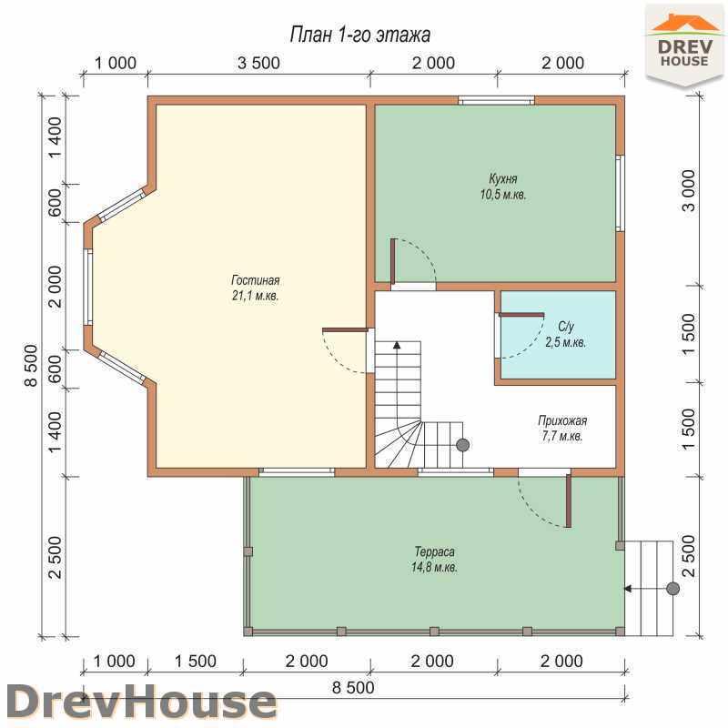 План 1 этажа дома из бруса с мансардой ДБ-43