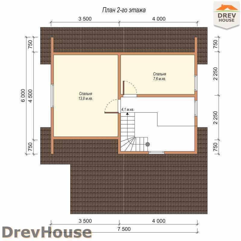 План 2 этажа дома из бруса с мансардой ДБ-43