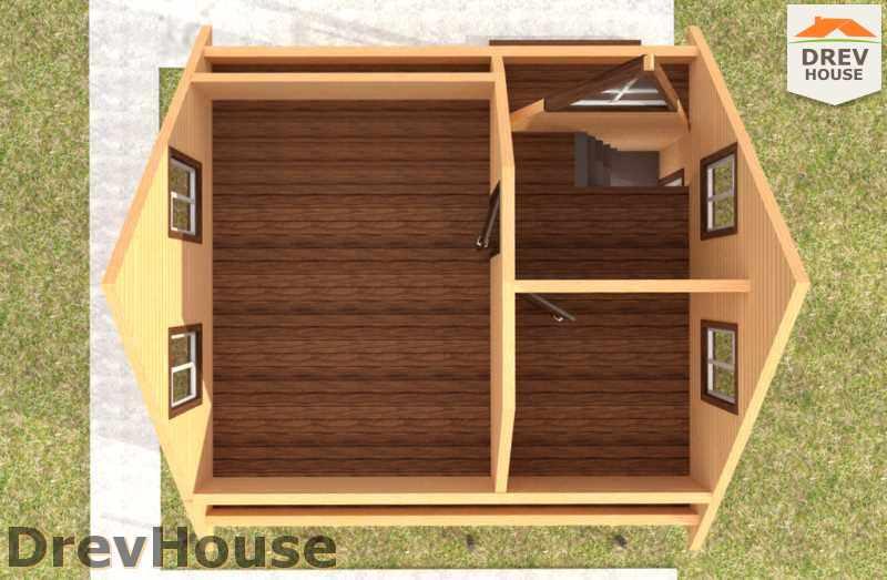 Вид изнутри 2 этажа проекта дома из бруса с мансардой ДБ-42