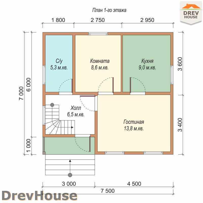 План 1 этажа дома из бруса с мансардой ДБ-42