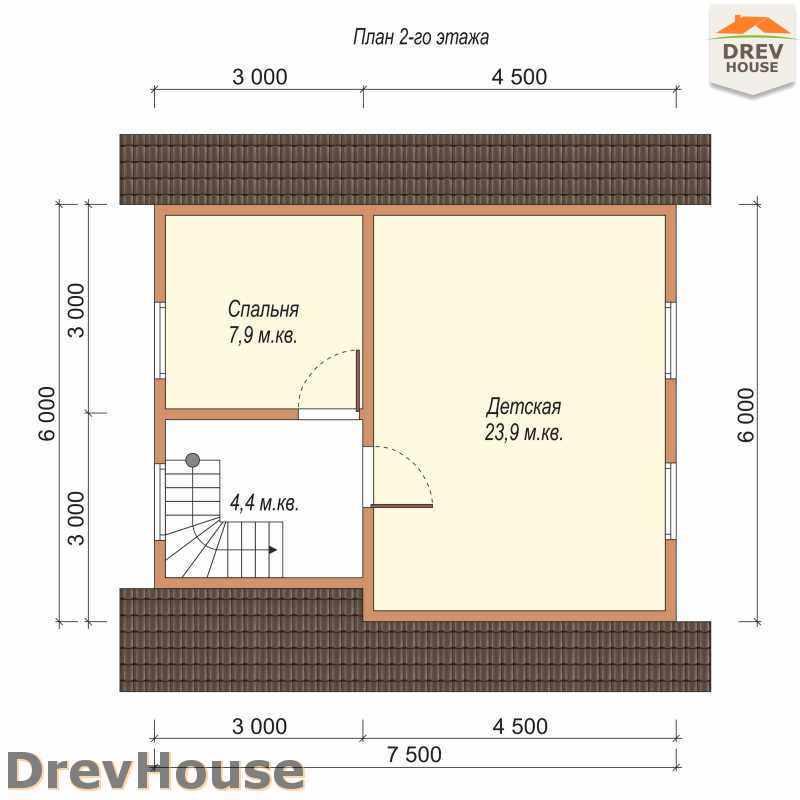 План 2 этажа дома из бруса с мансардой ДБ-42
