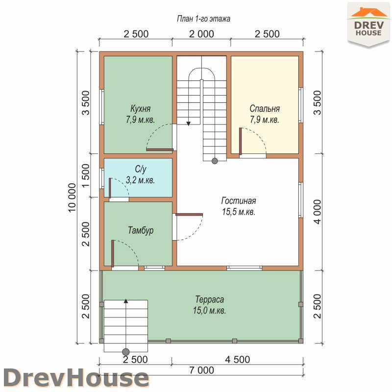 План 1 этажа дома из бруса с мансардой ДБ-41