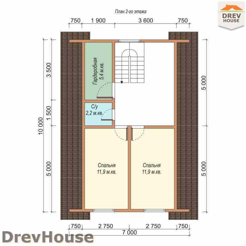 План 2 этажа дома из бруса с мансардой ДБ-41