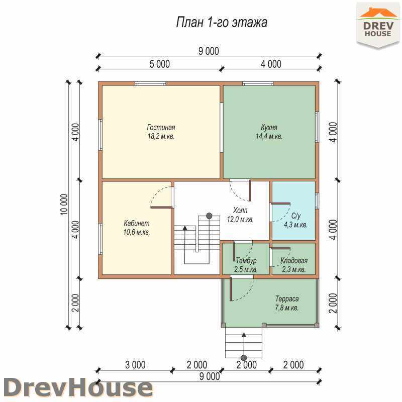 План 1 этажа дома из бруса с мансардой ДБ-40