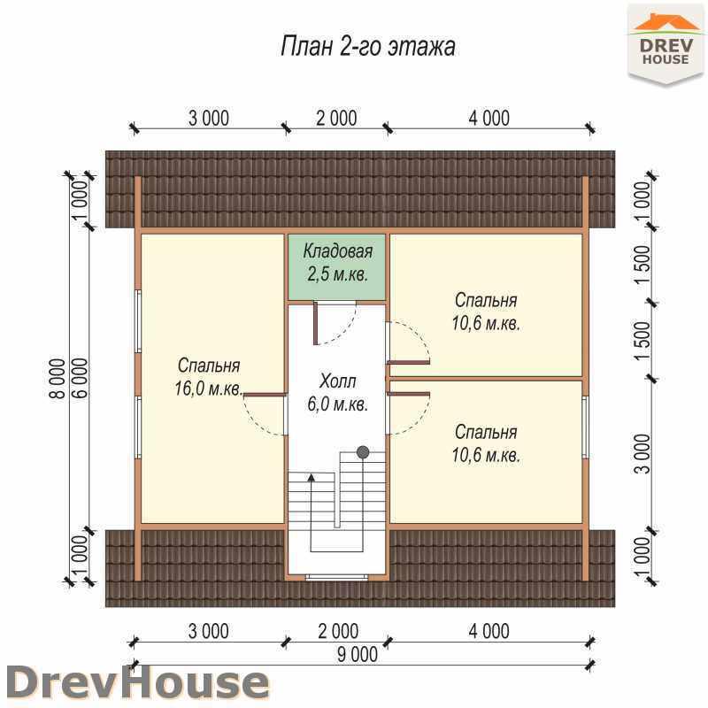 План 2 этажа дома из бруса с мансардой ДБ-40