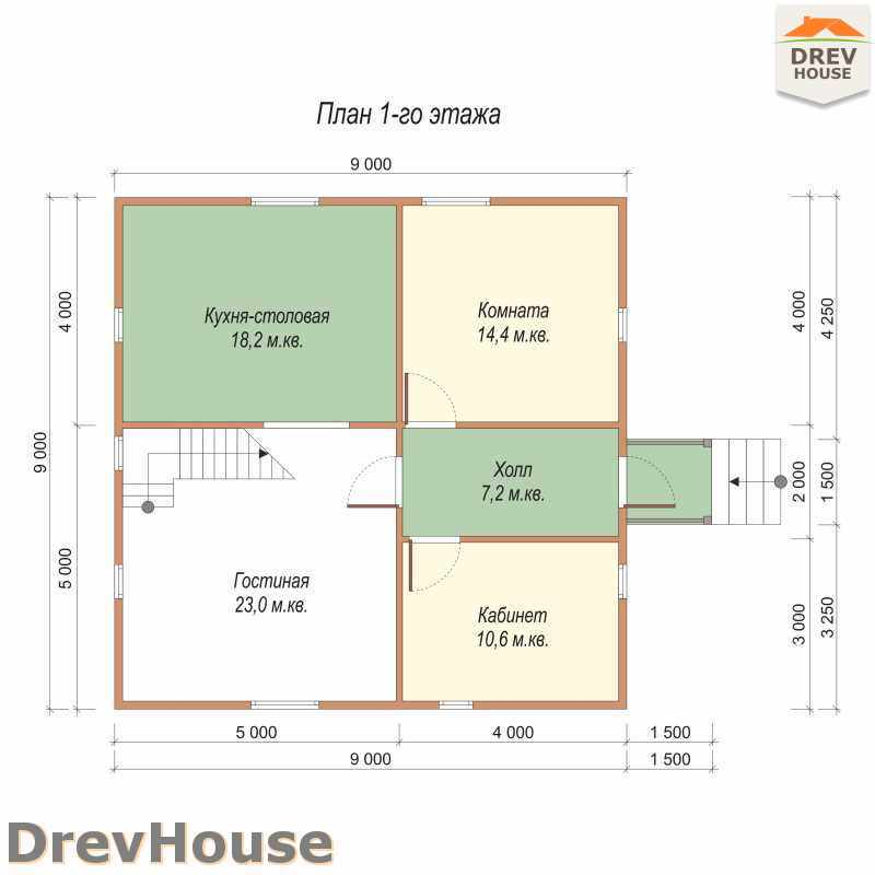 План 1 этажа полутораэтажного дома из бруса ДБ-39