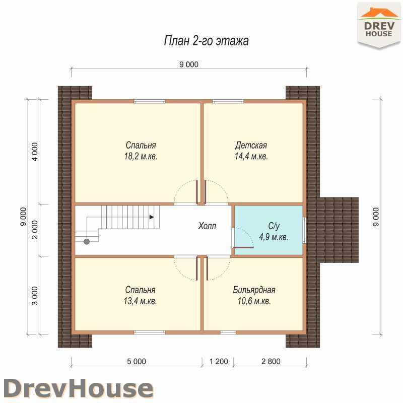 План 2 этажа полутораэтажного дома из бруса ДБ-39
