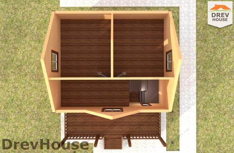 Вид изнутри 2 этажа проекта полутораэтажного дома из бруса ДБ-38