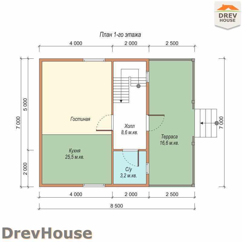 План 1 этажа полутораэтажного дома из бруса ДБ-38