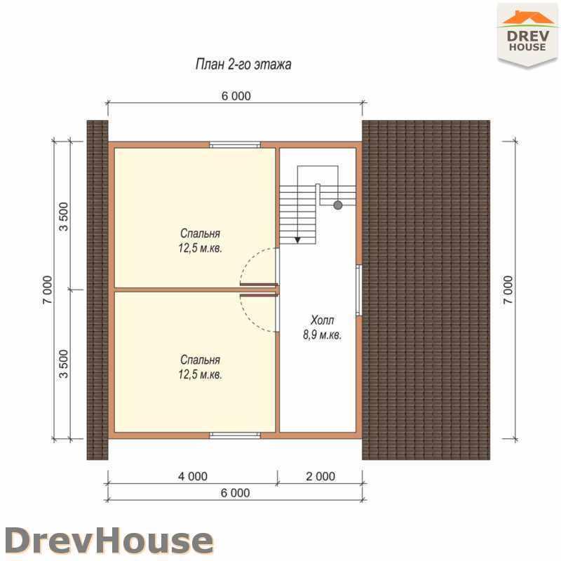 План 2 этажа полутораэтажного дома из бруса ДБ-38