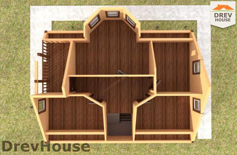 Вид изнутри 2 этажа проекта дома из бруса с мансардой ДБ-37