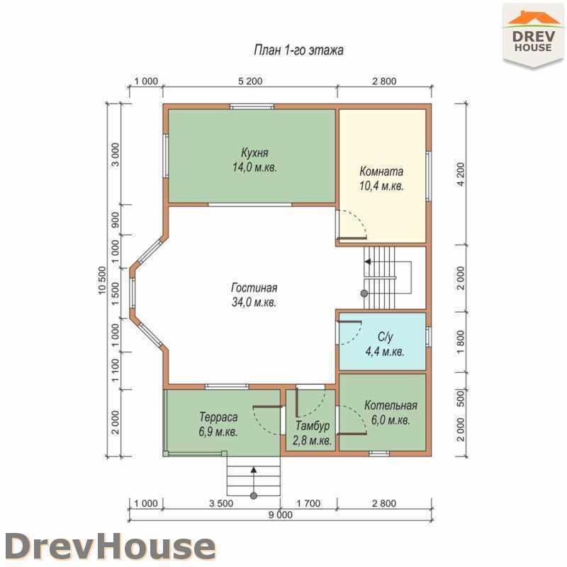 План 1 этажа дома из бруса с мансардой ДБ-37