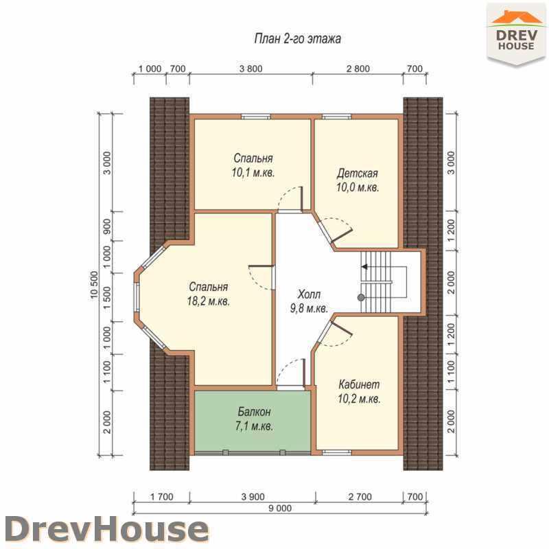 План 2 этажа дома из бруса с мансардой ДБ-37