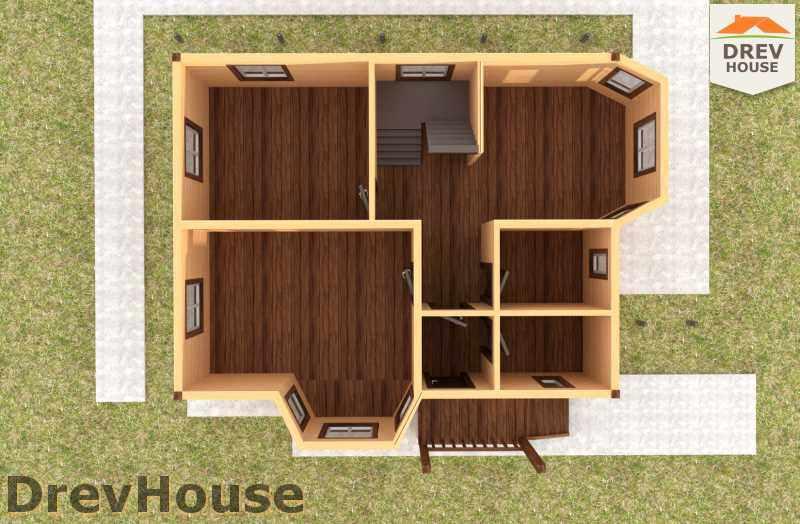 Вид изнутри 1 этажа проекта полутораэтажного дома из бруса ДБ-36