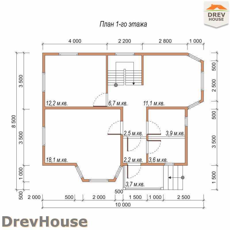 План 1 этажа полутораэтажного дома из бруса ДБ-36