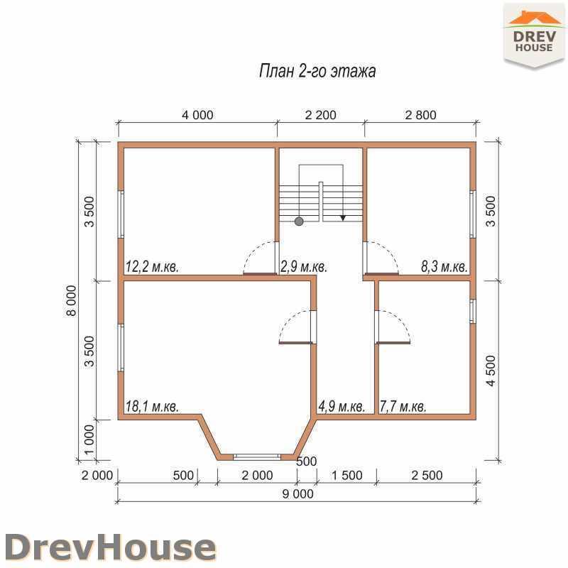 План 2 этажа полутораэтажного дома из бруса ДБ-36