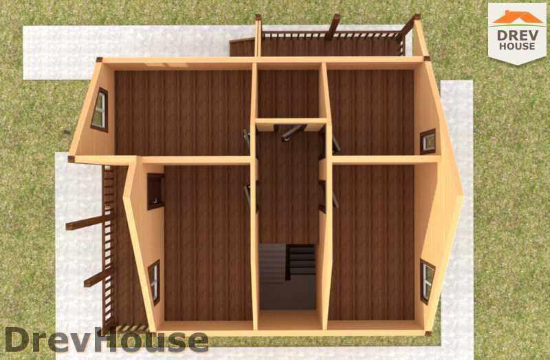 Вид изнутри 2 этажа проекта полутораэтажного дома из бруса ДБ-35
