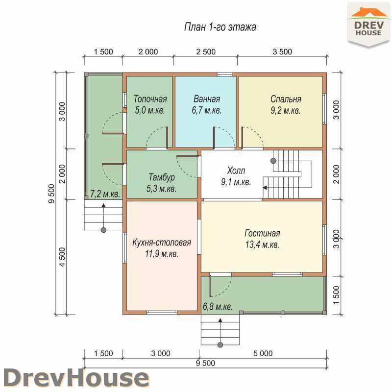 План 1 этажа полутораэтажного дома из бруса ДБ-35