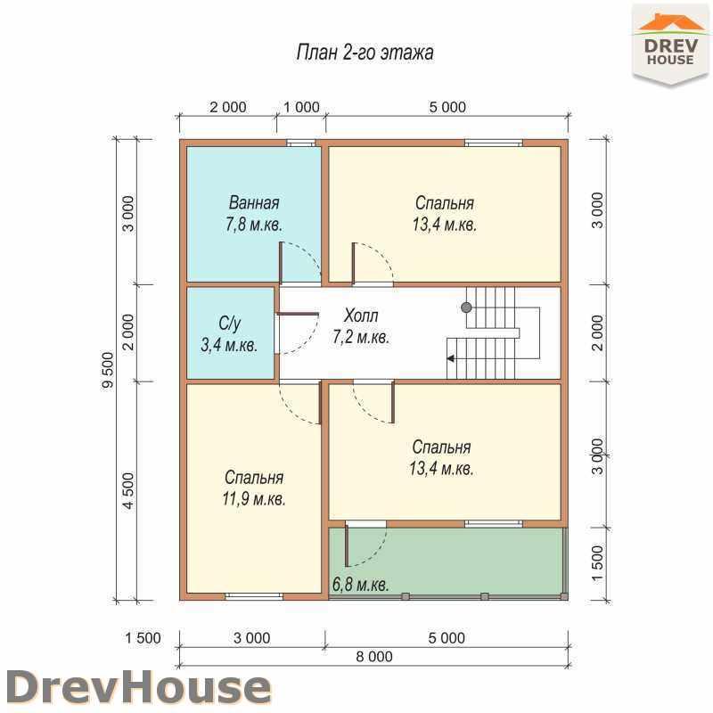План 2 этажа полутораэтажного дома из бруса ДБ-35