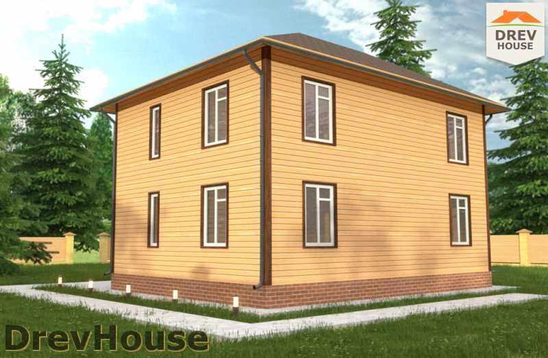 Вид сбоку проекта двухэтажного дома из бруса ДБ-34