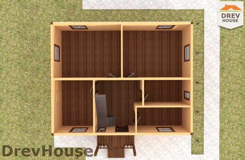Вид изнутри 1 этажа проекта двухэтажного дома из бруса ДБ-34