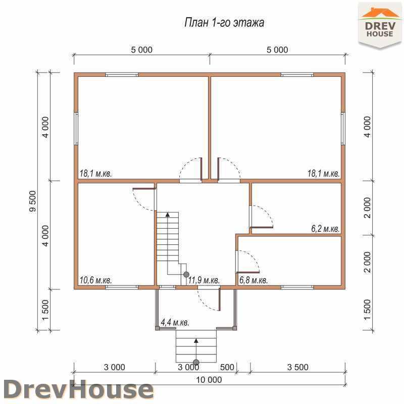 План 1 этажа двухэтажного дома из бруса ДБ-34