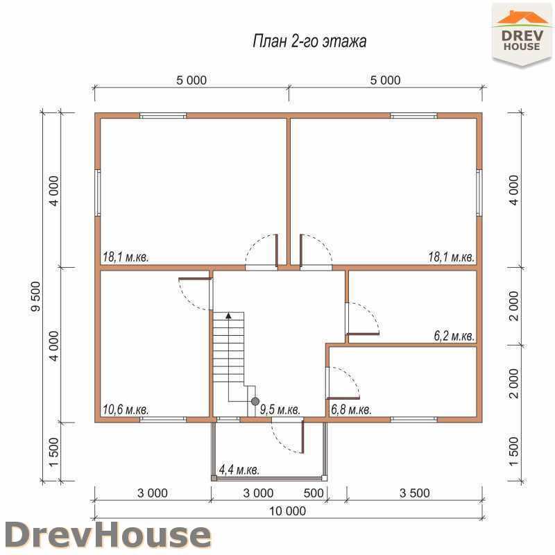 План 2 этажа двухэтажного дома из бруса ДБ-34
