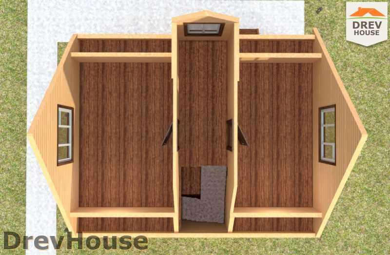 Вид изнутри 2 этажа проекта дома из бруса с мансардой ДБ-33