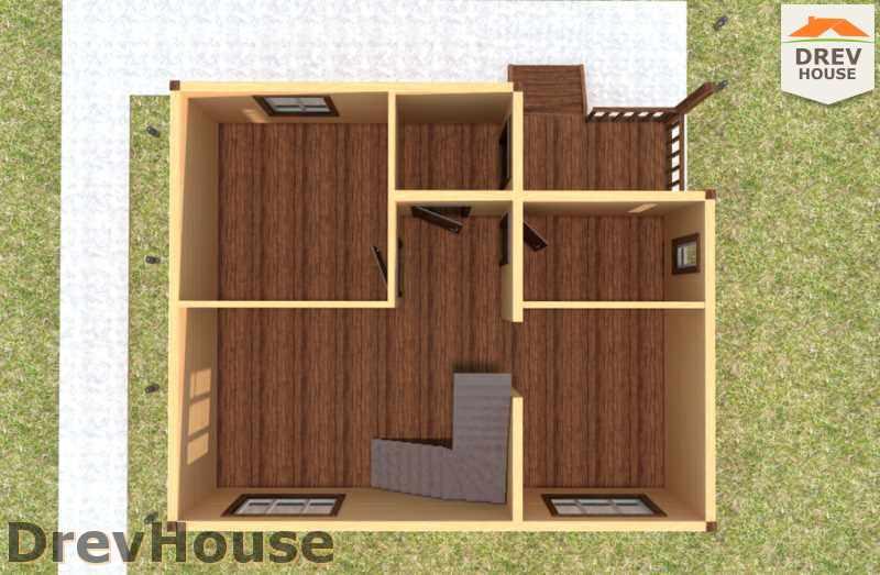 Вид изнутри 1 этажа проекта дома из бруса с мансардой ДБ-33