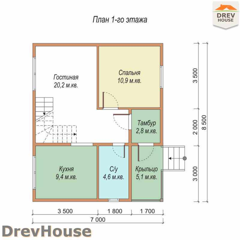 План 1 этажа дома из бруса с мансардой ДБ-33