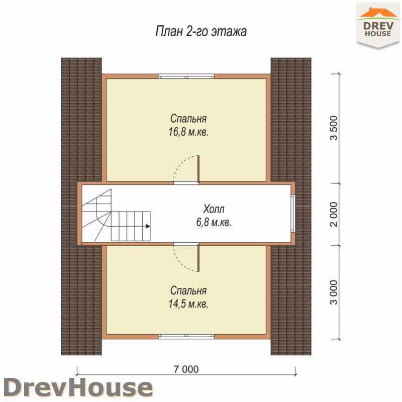 План 2 этажа дома из бруса с мансардой ДБ-33