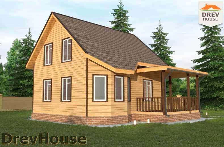 Главное фото проекта полутораэтажного дома из бруса ДБ-32