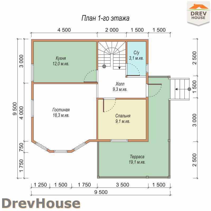 План 1 этажа полутораэтажного дома из бруса ДБ-32