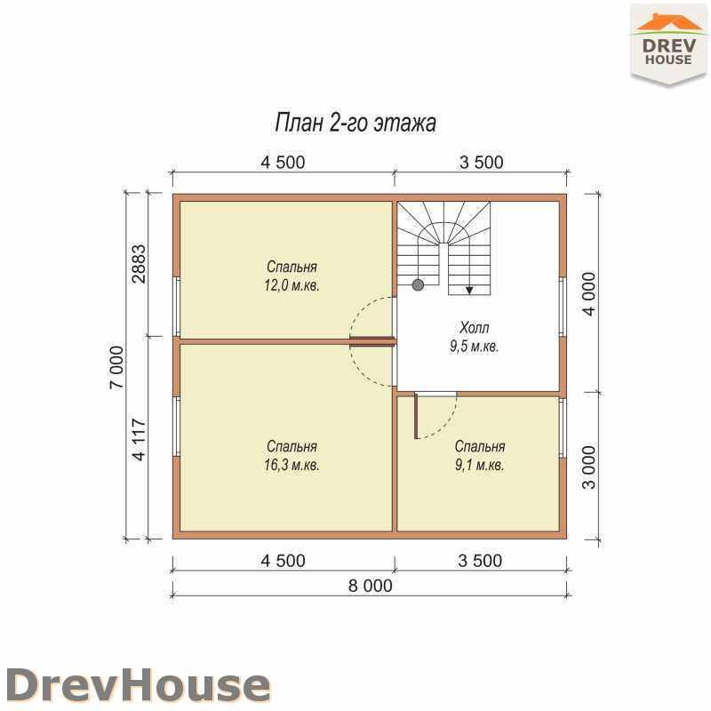 План 2 этажа полутораэтажного дома из бруса ДБ-32