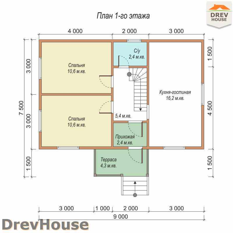 План 1 этажа дома из бруса с мансардой ДБ-31
