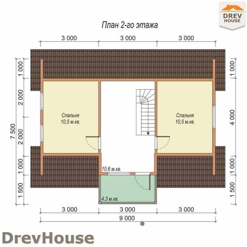 План 2 этажа дома из бруса с мансардой ДБ-31