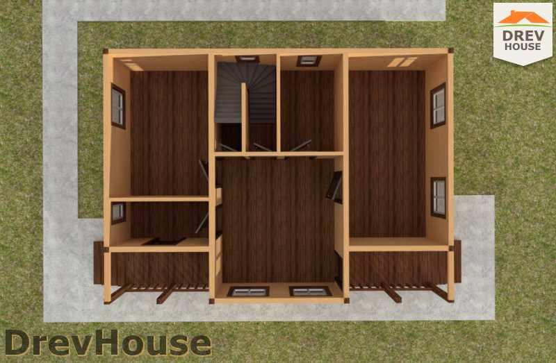 Вид изнутри 1 этажа проекта дома из бруса с мансардой ДБ-30