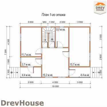 План 1 этажа дома из бруса с мансардой ДБ-30