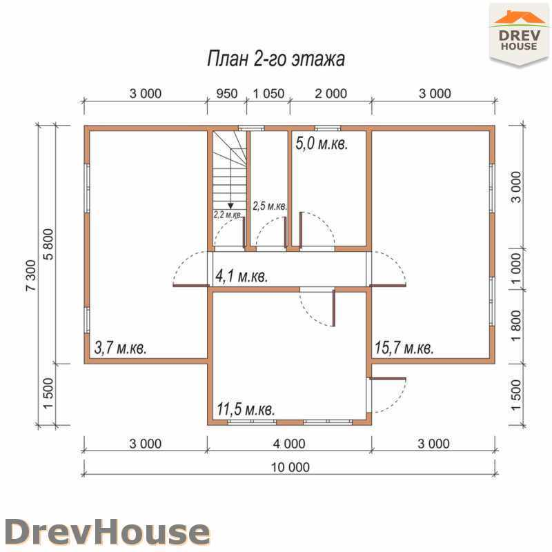 План 2 этажа дома из бруса с мансардой ДБ-30