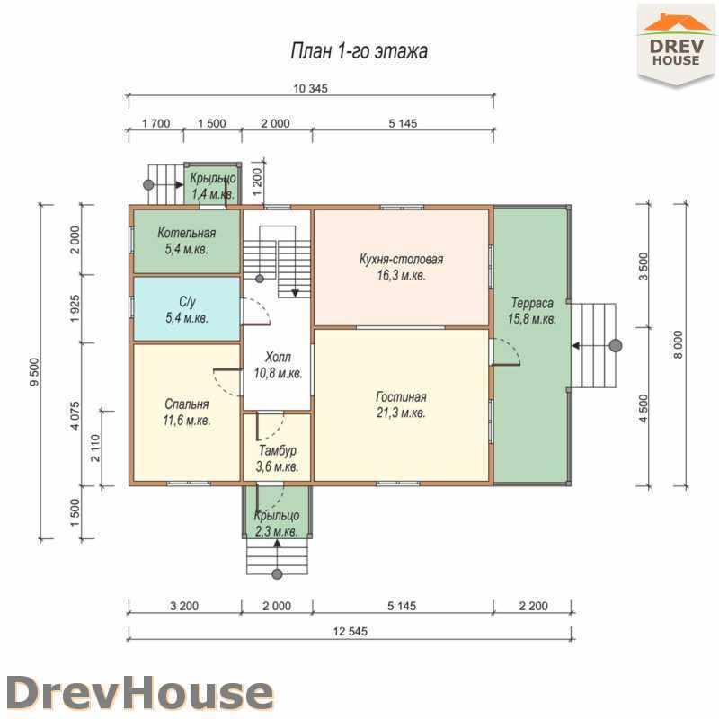 План 1 этажа полутораэтажного дома из бруса ДБ-29