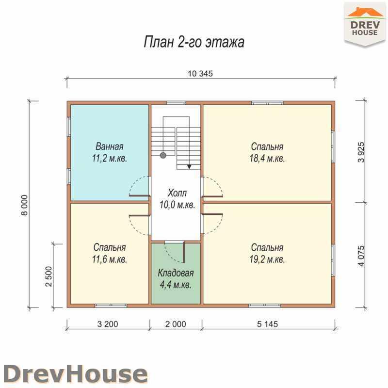 План 2 этажа полутораэтажного дома из бруса ДБ-29