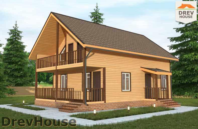 Главное фото проекта полутораэтажного дома из бруса ДБ-28