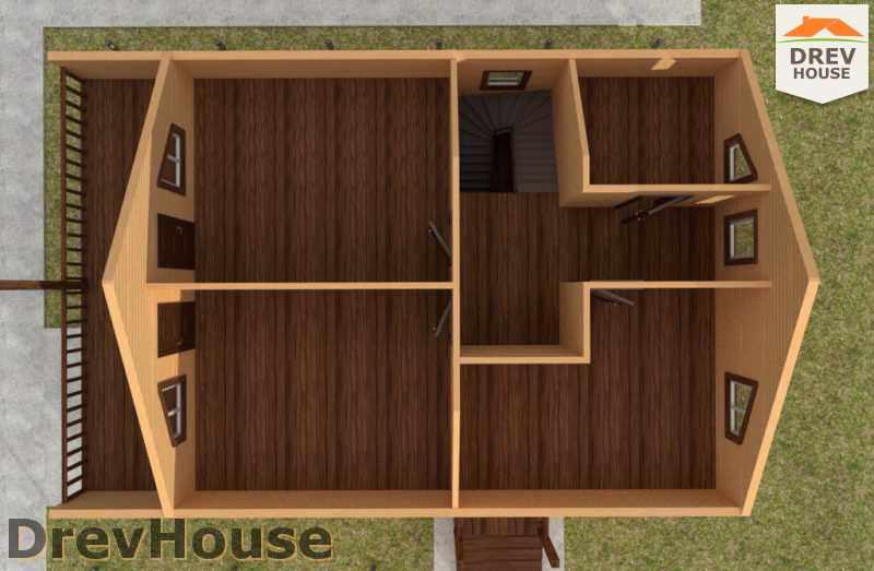 Вид изнутри 2 этажа проекта полутораэтажного дома из бруса ДБ-28