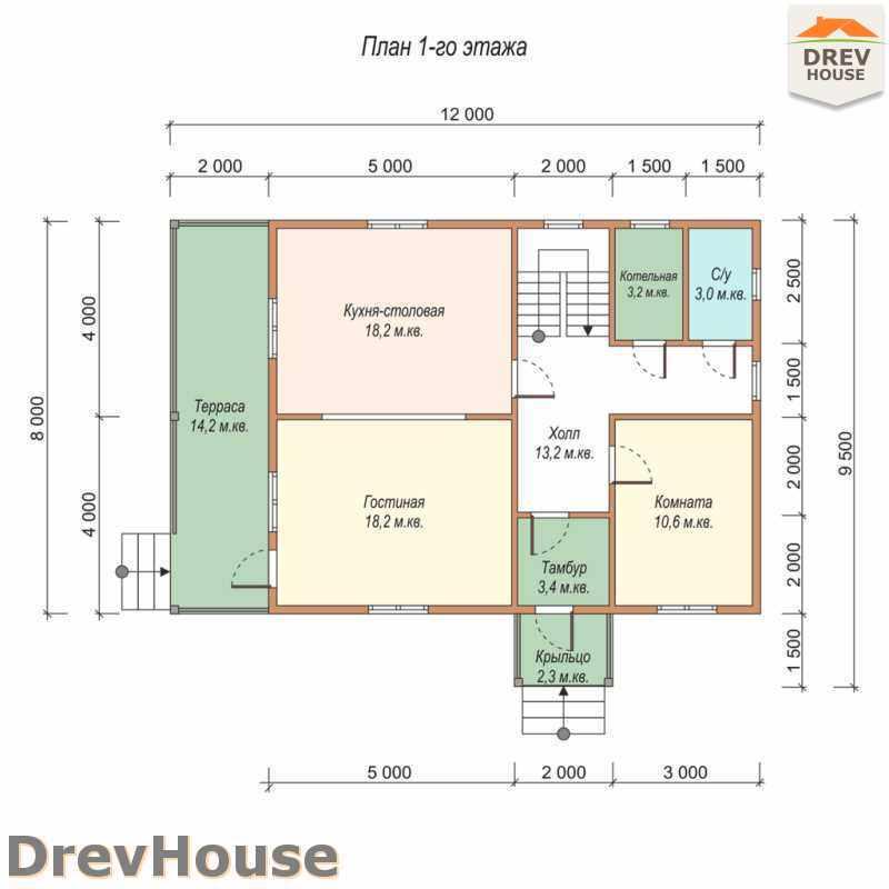 План 1 этажа полутораэтажного дома из бруса ДБ-28