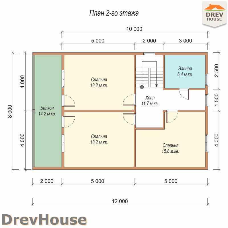 План 2 этажа полутораэтажного дома из бруса ДБ-28