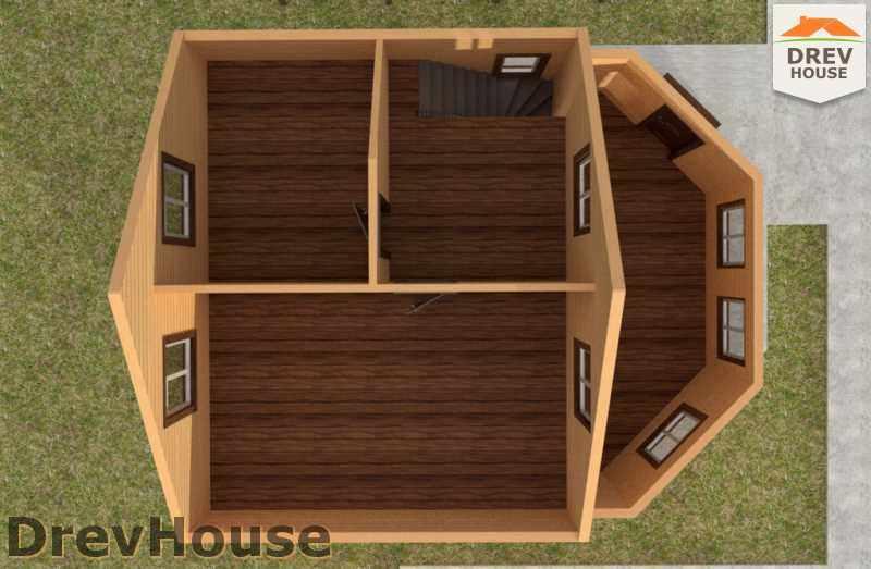 Вид изнутри 2 этажа проекта полутораэтажного дома из бруса ДБ-27