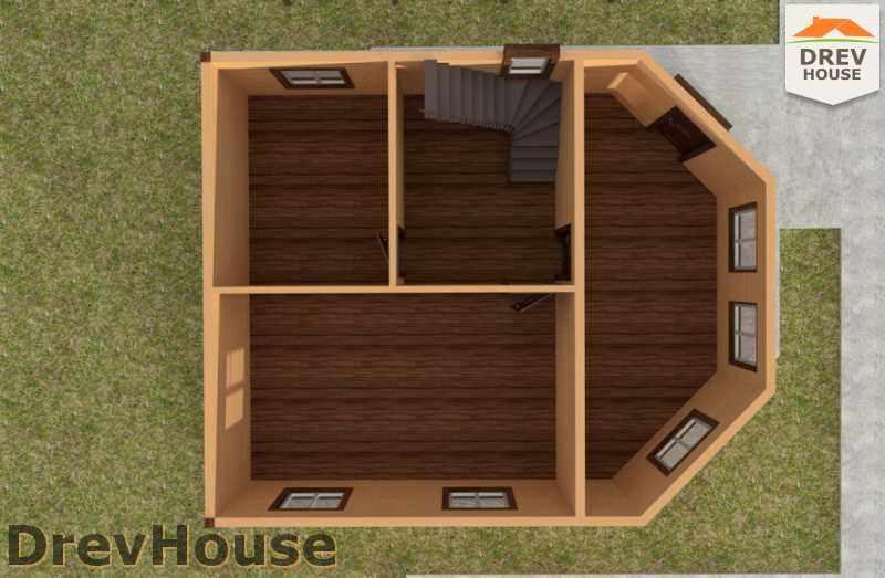 Вид изнутри 1 этажа проекта полутораэтажного дома из бруса ДБ-27