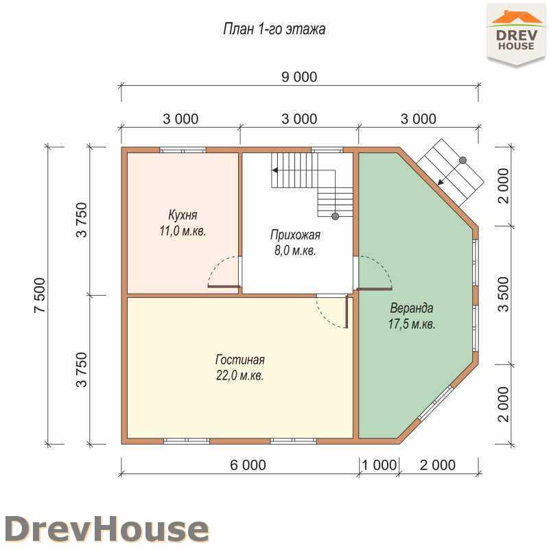План 1 этажа полутораэтажного дома из бруса ДБ-27